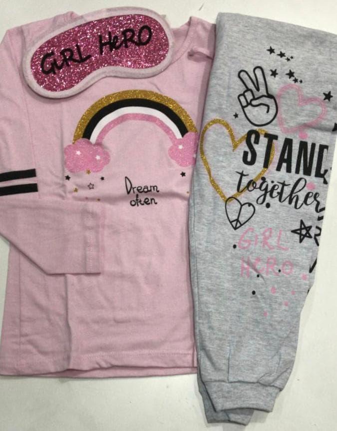 Pijama Feminino Infantil Longo Color Girl em Algodão com Tapa Olho 615297