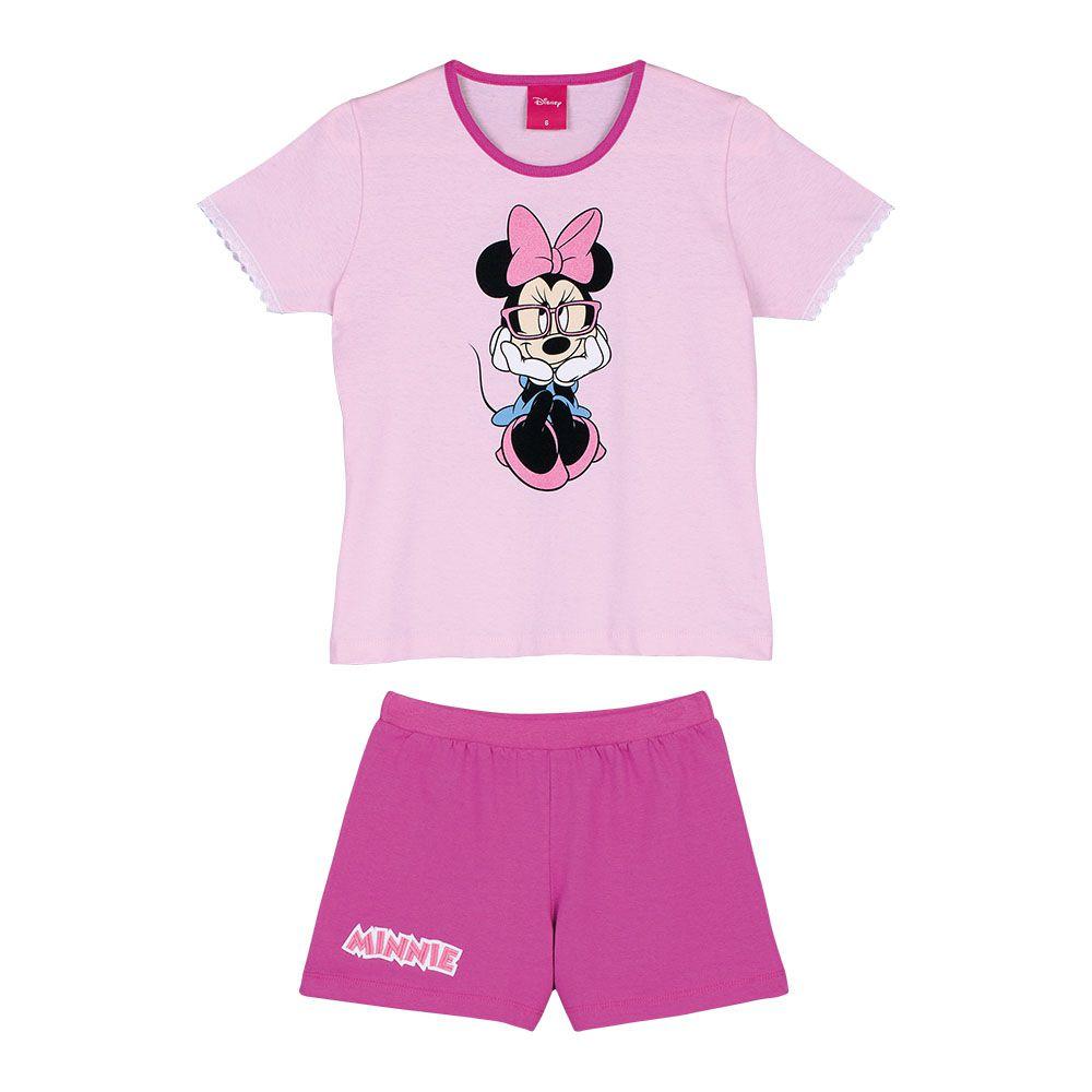 Pijama Feminino Infantil Lupo Rosa com Personagem Minnie