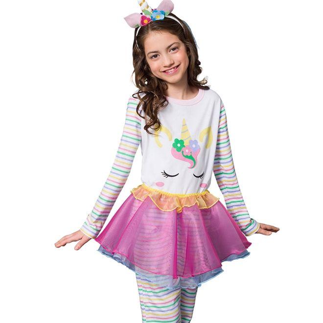 Pijama Fantasia Feminino Infantil Veggi Manga Longa Unicórnio com Saia Removível Kids e Teen
