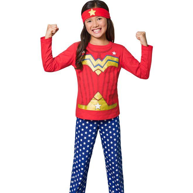 Pijama Fantasia Feminino Longo Veggi Mulher Maravilha Brilha no Escuro com Tiara