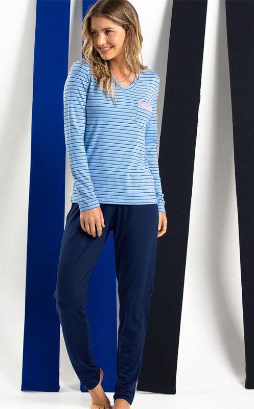 Pijama Feminino Mixte Adulto Longo Azul Bebê Listrada e Calça Azul Marinho em Modal