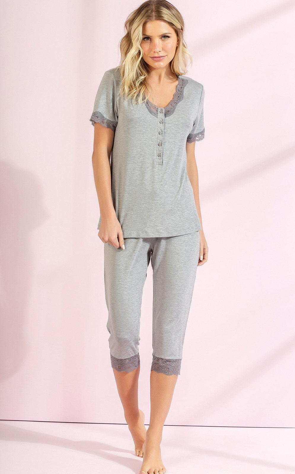 Pijama Feminino Mixte Blusa com Calça Capri Mescla em Modal 9510