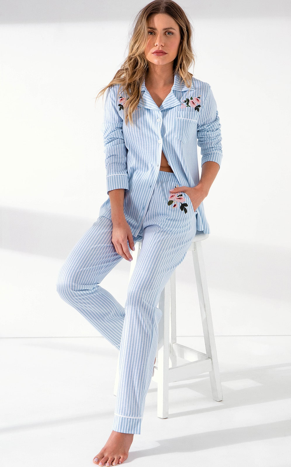 Pijama Feminino Mixte Cardigan com calça listrado Azul bebe  em Algodão Premium 9668