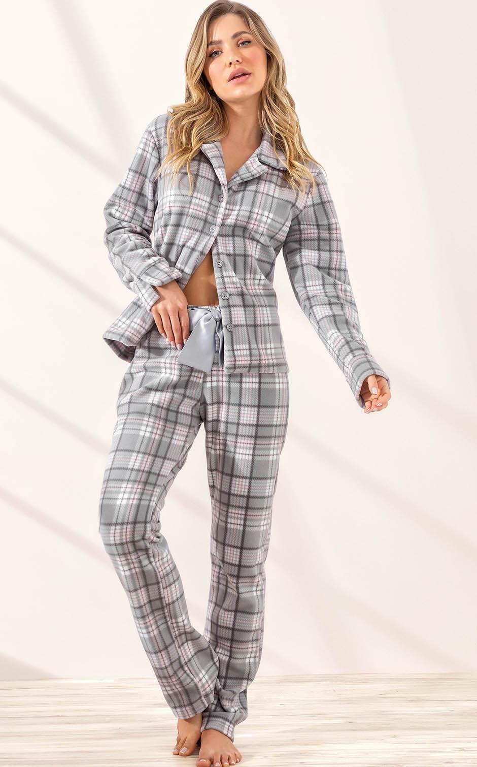 Pijama Feminino Mixte Cardigan com Calça Xadrez em Soft extra Quente 9985
