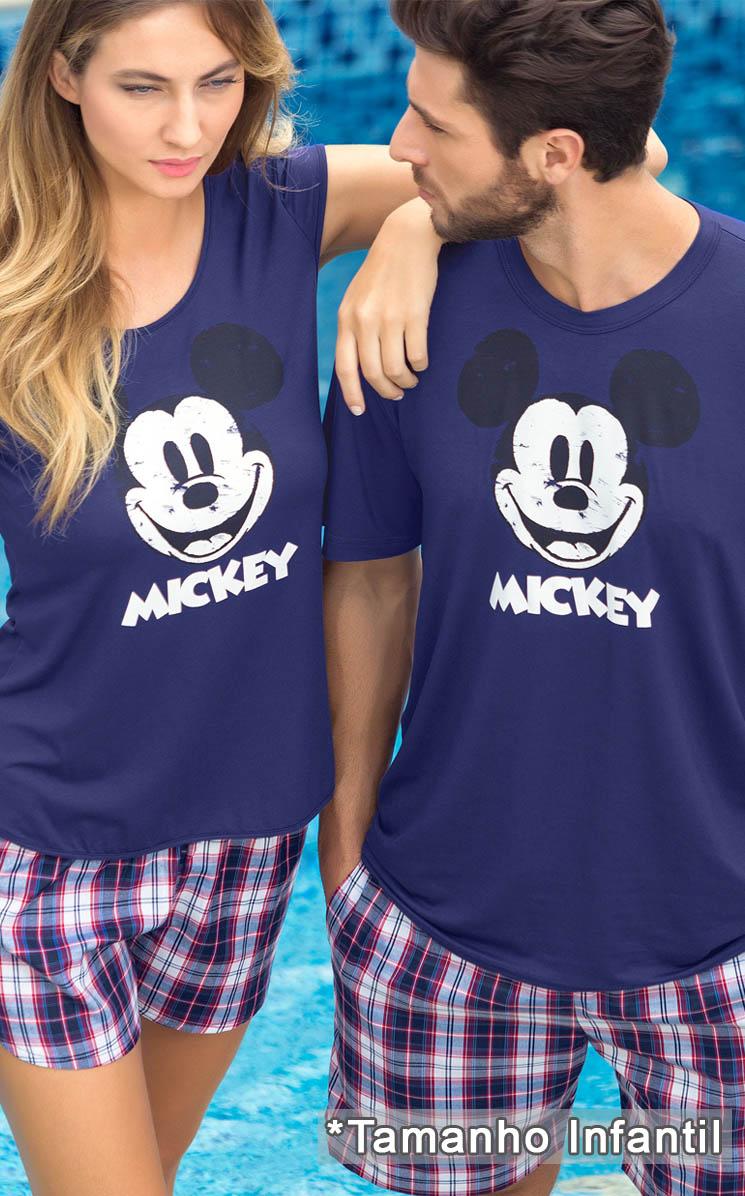 Pijama Feminino Mixte Infantil Mickey Azul
