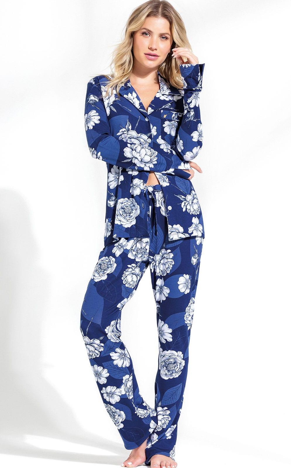 Pijama Feminino Mixte Manga Longa Aberto com Calça Azul Floral em Modal 9600