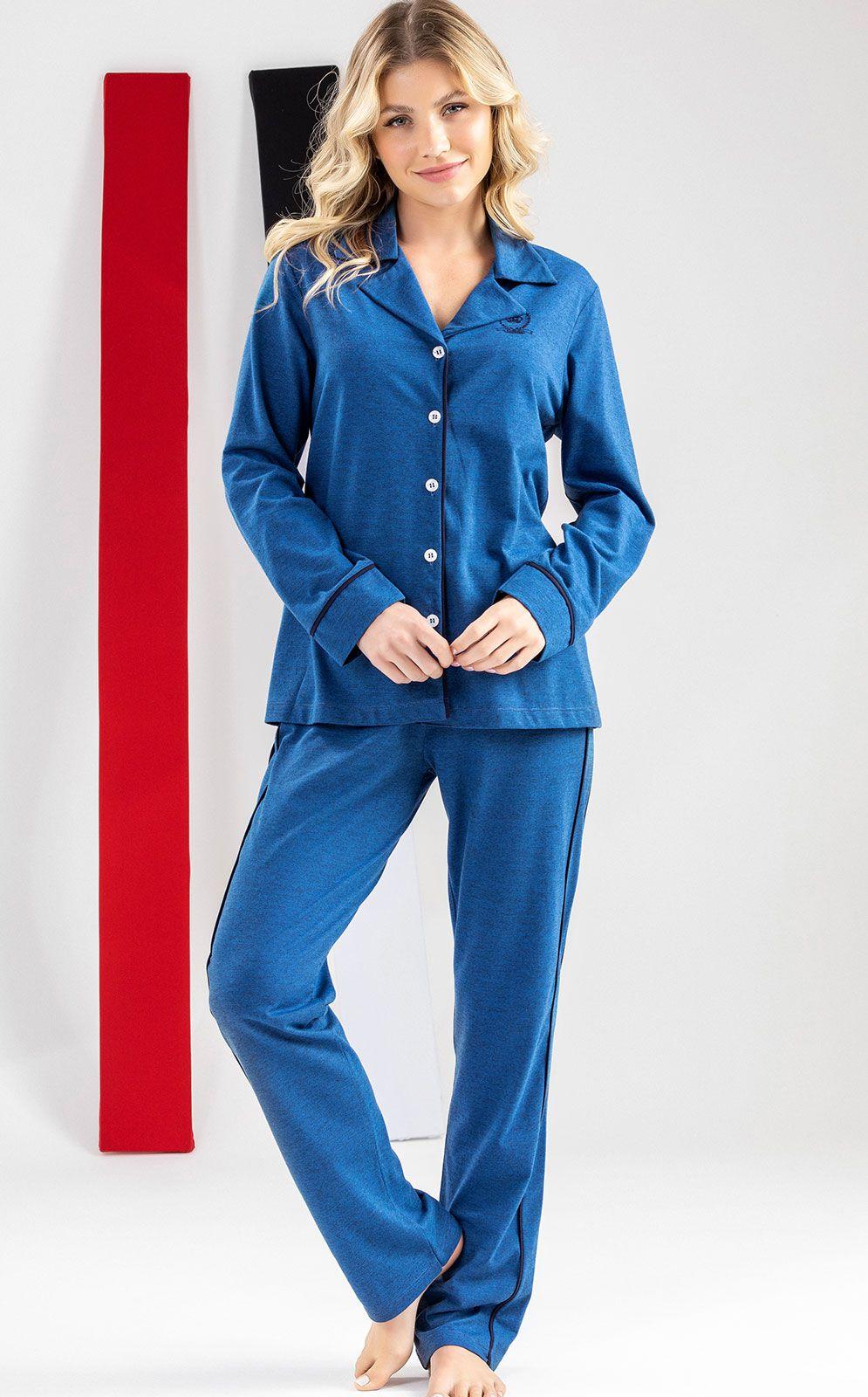 Pijama Feminino Mixte Manga Longa Aberto com Calça em Algodão 9640