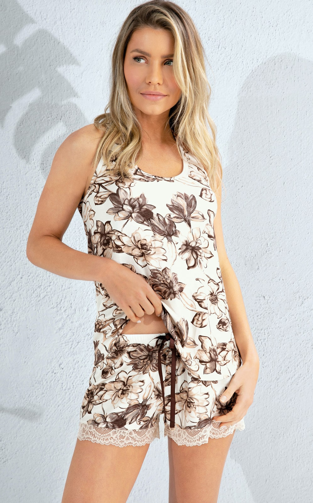 Pijama Feminino Mixte Regata com shorts Estampa Floral 1157
