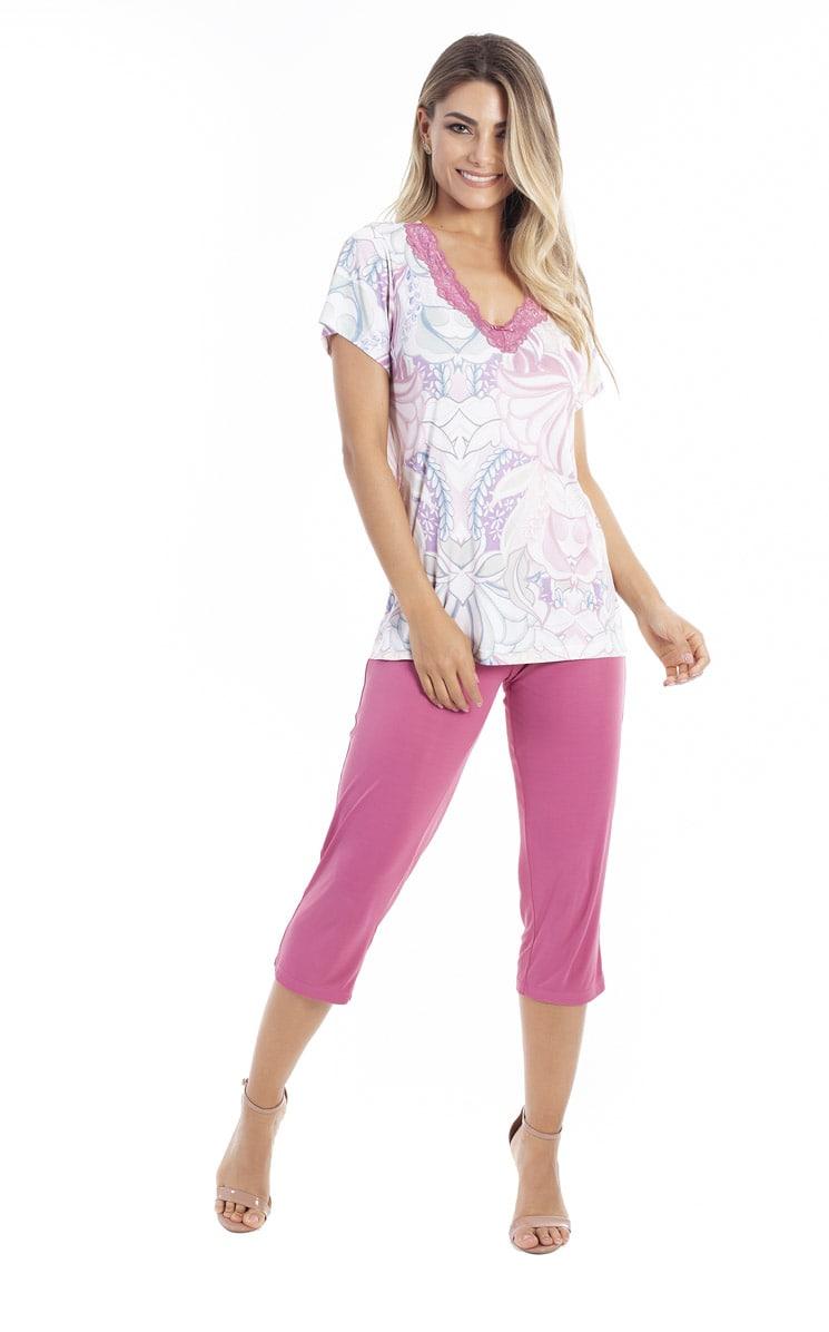 Pijama Feminino Paulienne Blusa com Calca Capri 05563 73 Miragem