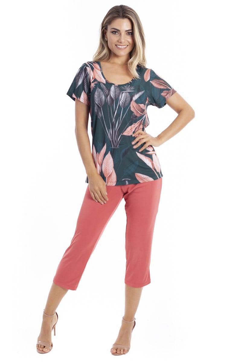 Pijama Feminino Paulienne Blusa Estampada com Calca Capri 05363-55 Botanica