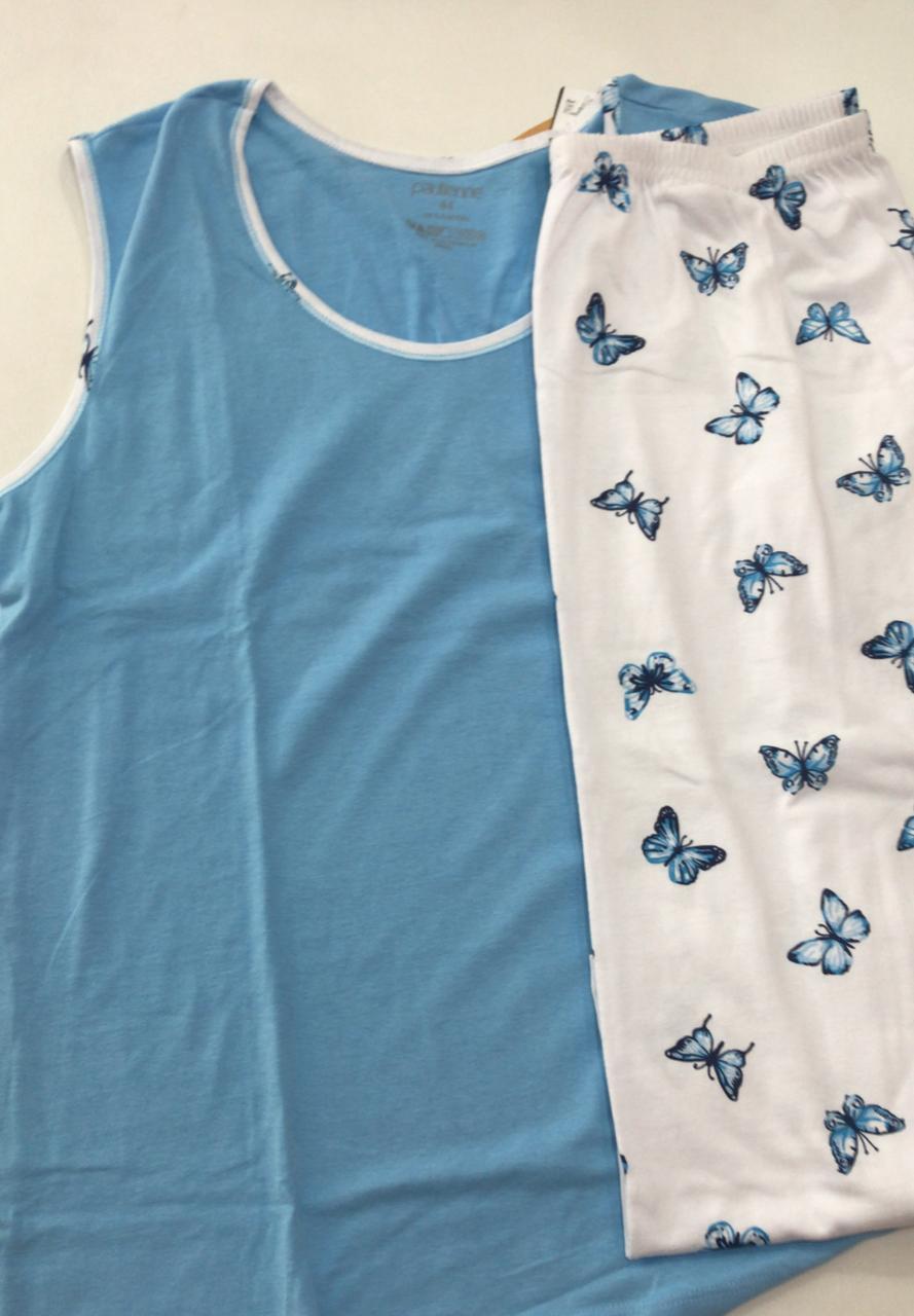 Pijama Feminino Paulienne Blusa Regata com Calça Capri em Algodão Especial 9618