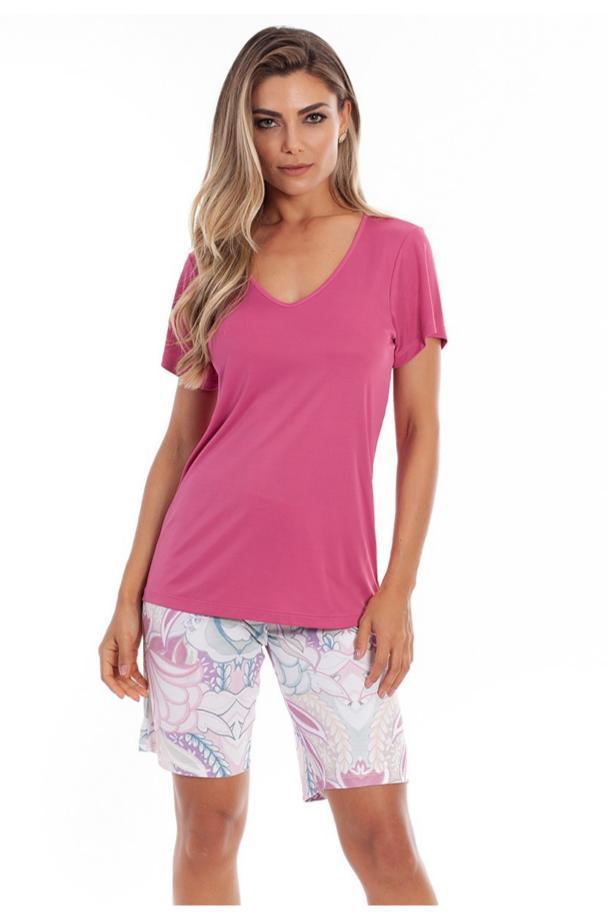 Pijama Feminino Paulienne Camiseta Manga Curta com Bermuda 07263-Miragem