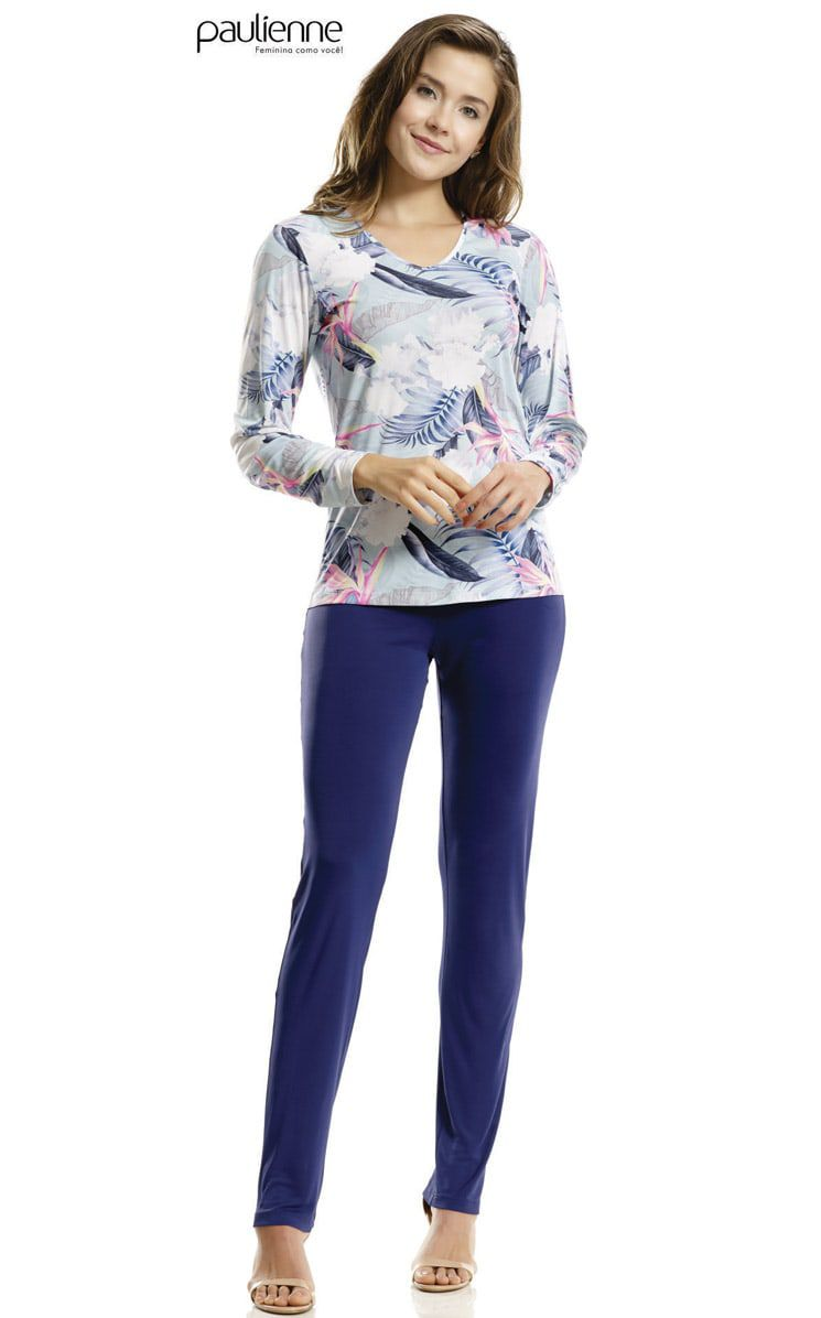 Pijama feminino Paulienne longo calça lisa e blusa estampada floral em poliamida plus size