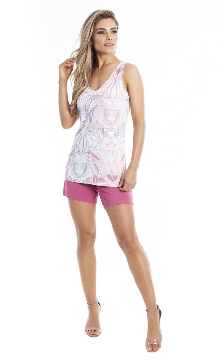 Pijama Feminino Paulienne Regata com Bermuda em Liganete 06763-42 Miragem