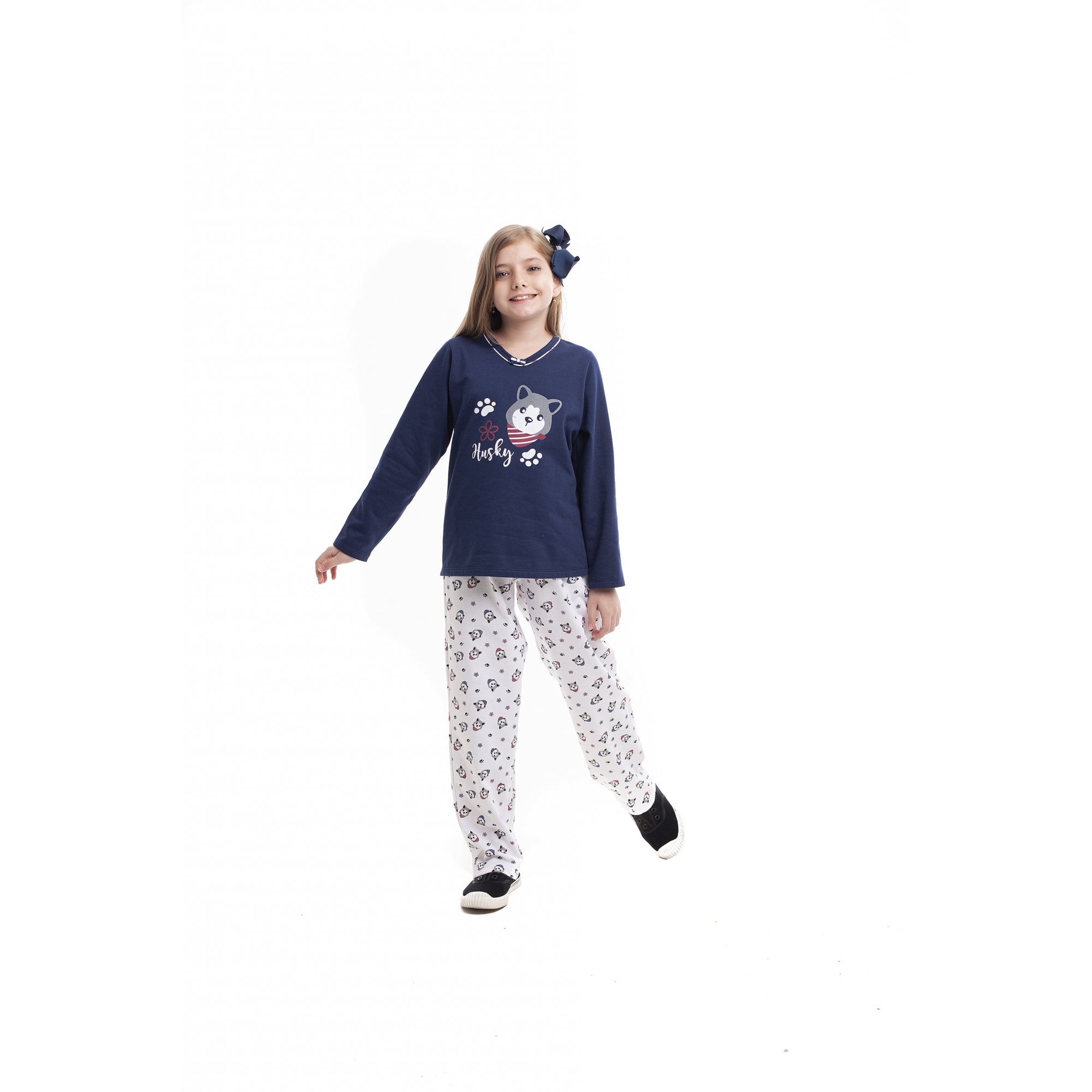 Pijama Infanti Paulienne Flanelado Marinho Husky 37265