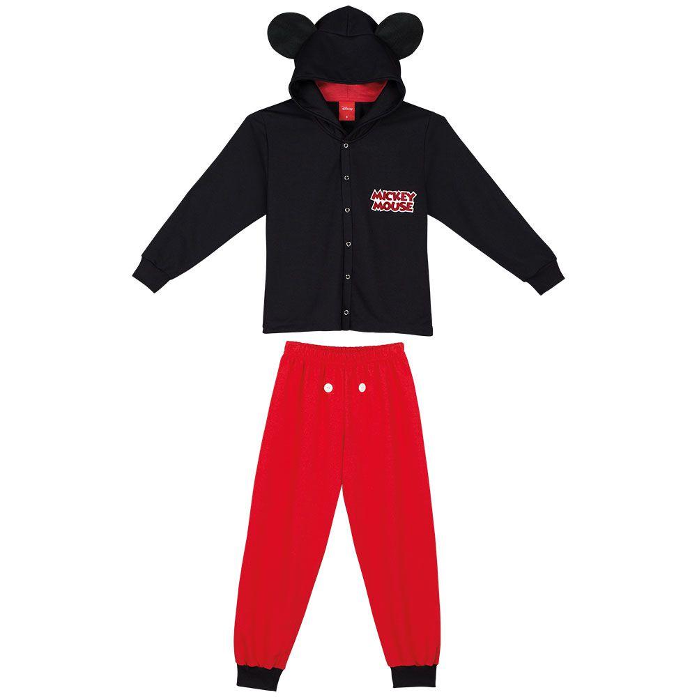Pijama Infantil Longo Unissex Lupo Moletom Preto com Vermelho com Capuz de Orelha Mickey
