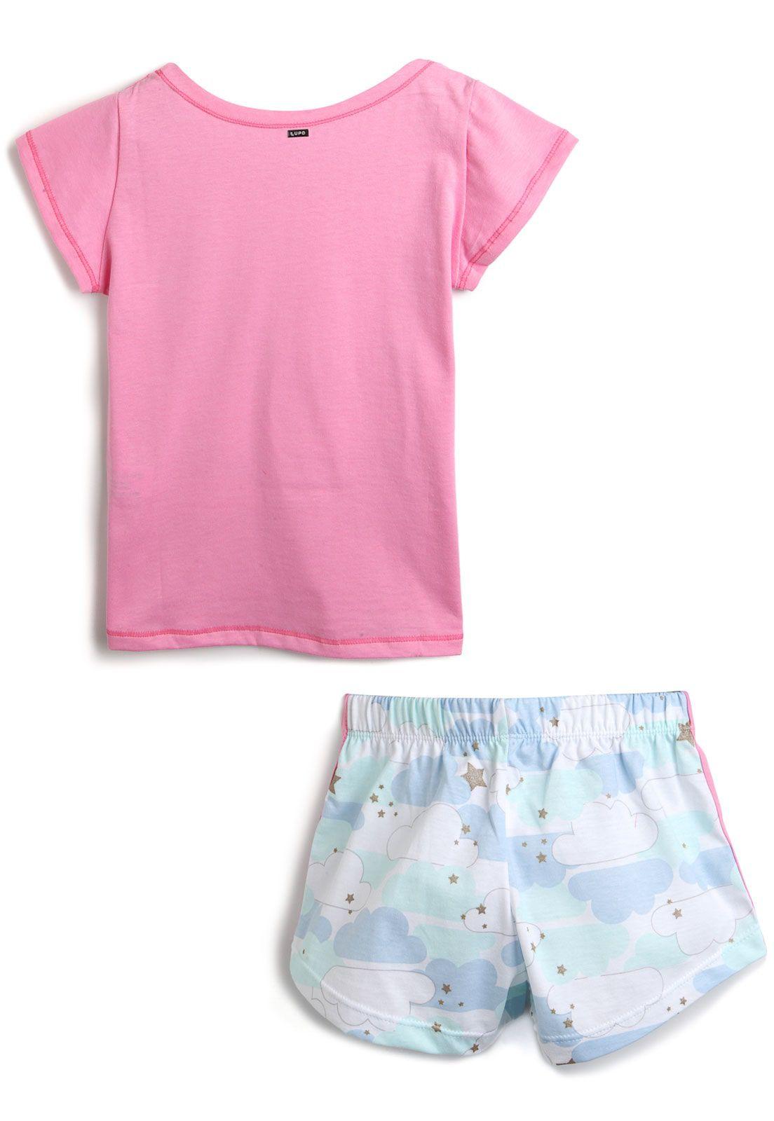 Pijama Infantil Lupo Curto Elefante Rosa e Azul 100% algodão