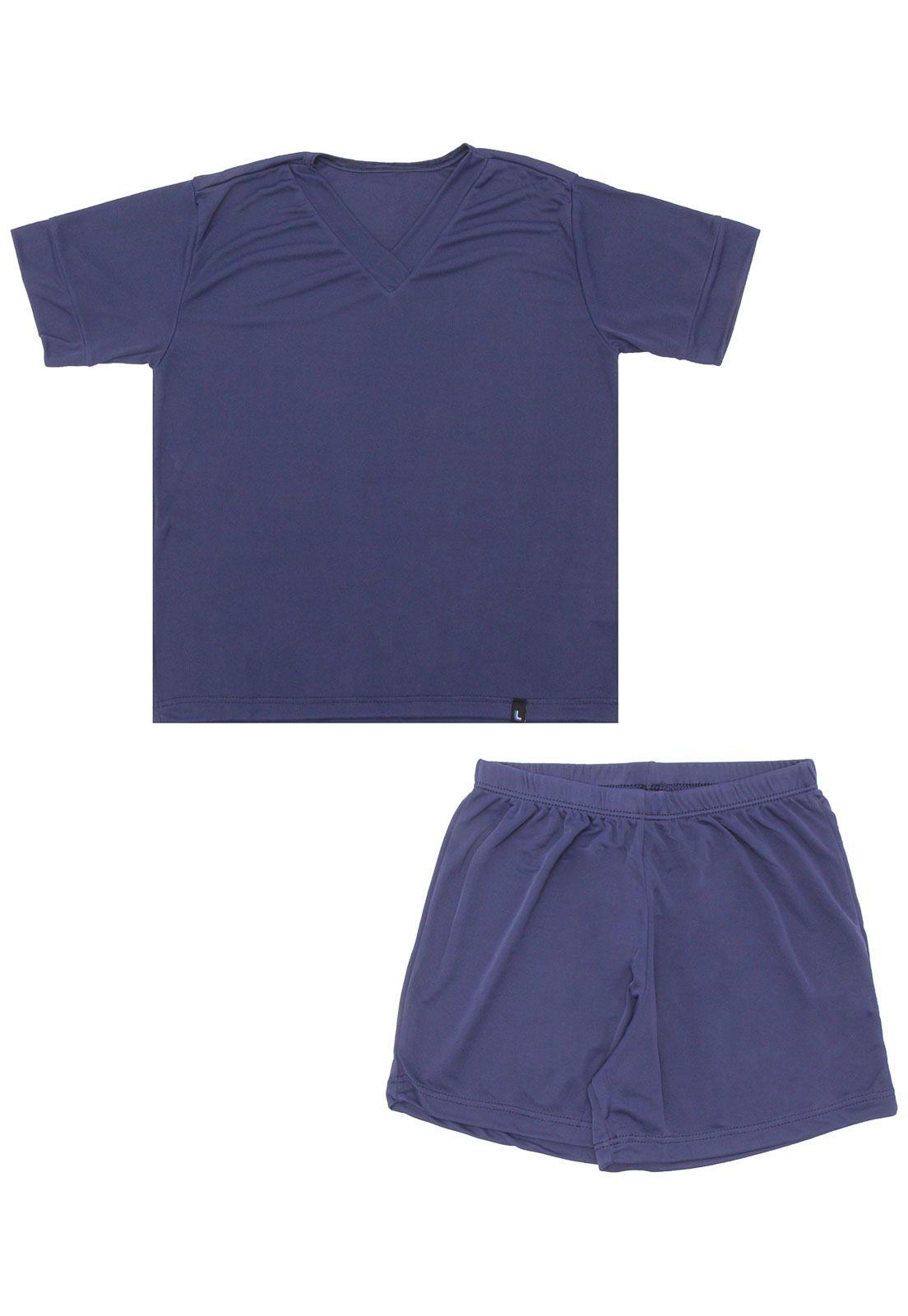 Pijama Infantil Masculino Azul Marinho em Liganete