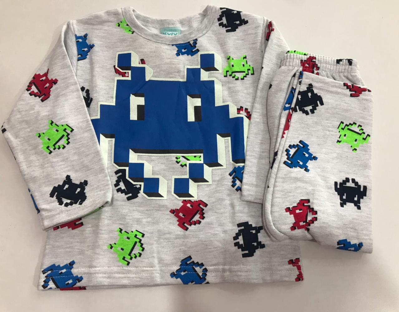 Pijama Infantil Masculino Kyly Moletom Flanelado que brilha no escuro Pac Man 207550