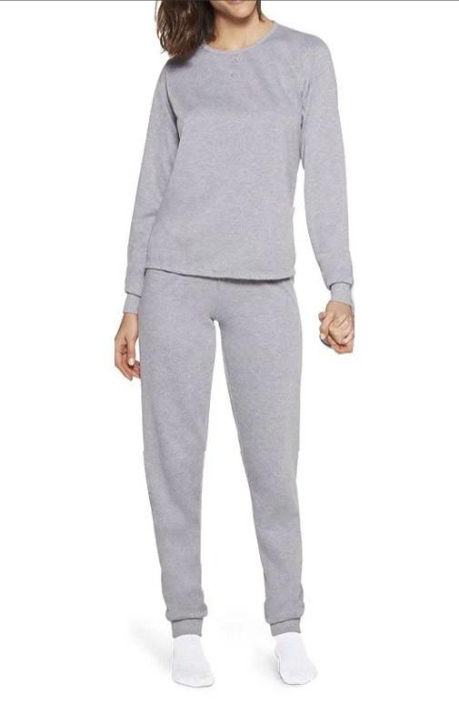 Pijama Lupo Feminino Adulto Manga Longa punho flanelado em algodão cinza 24308