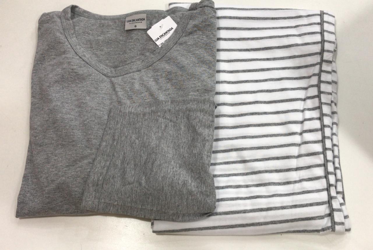 Pijama Masculino Adulto Lua Encantada Manga Longa cinza com Calça listrada em algodão