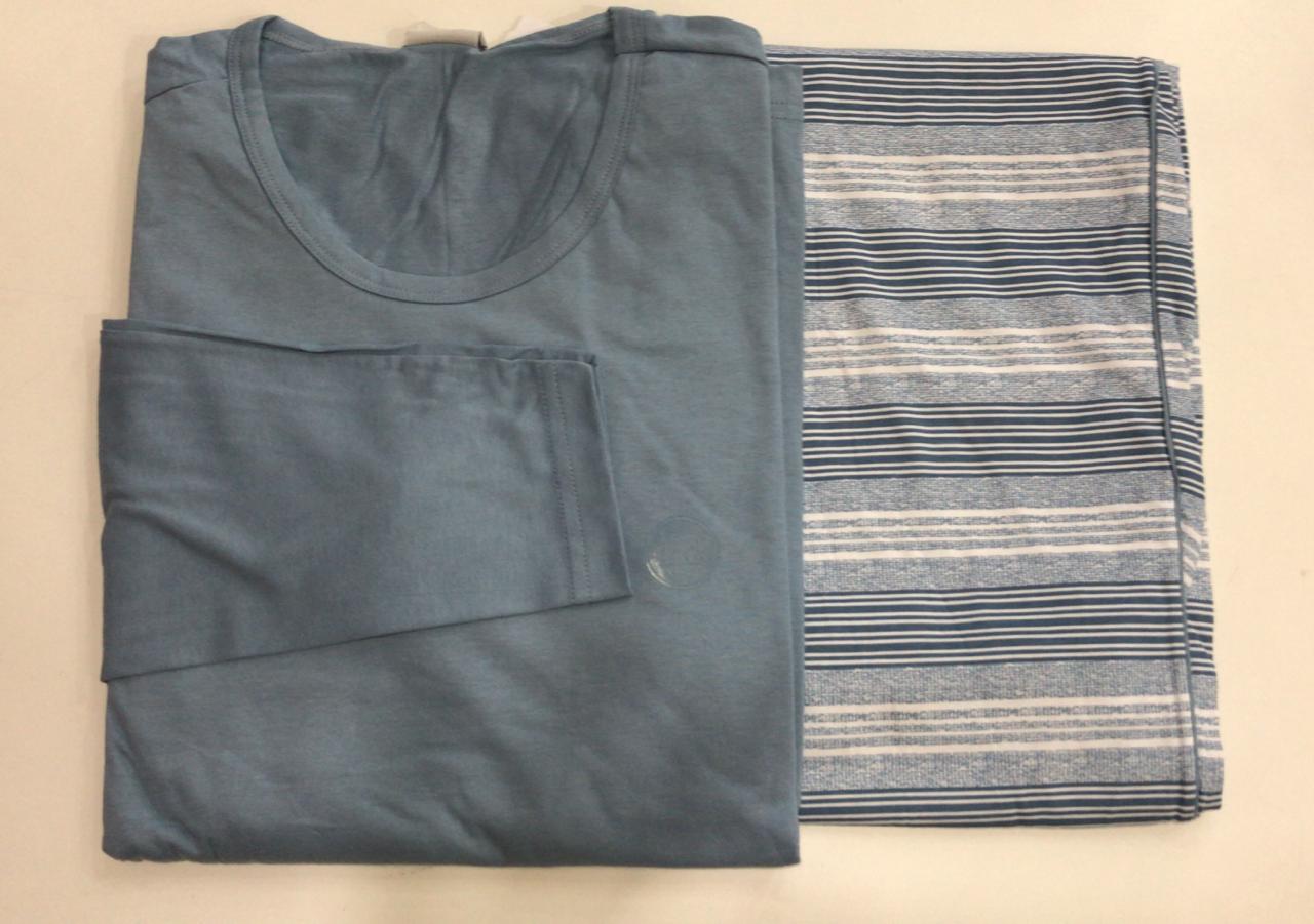 Pijama Masculino Adulto Lua Encantada Manga Longa com Calça em algodão azul com branco 345
