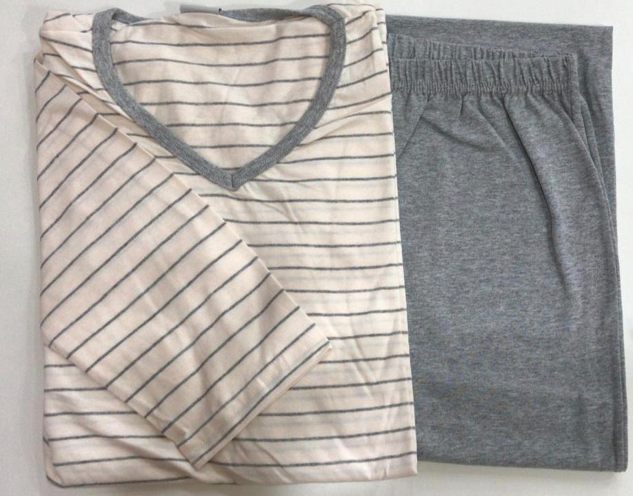 Pijama Masculino Adulto Lua Encantada Manga Longa com  Calça em algodão bege com cinza 12000012