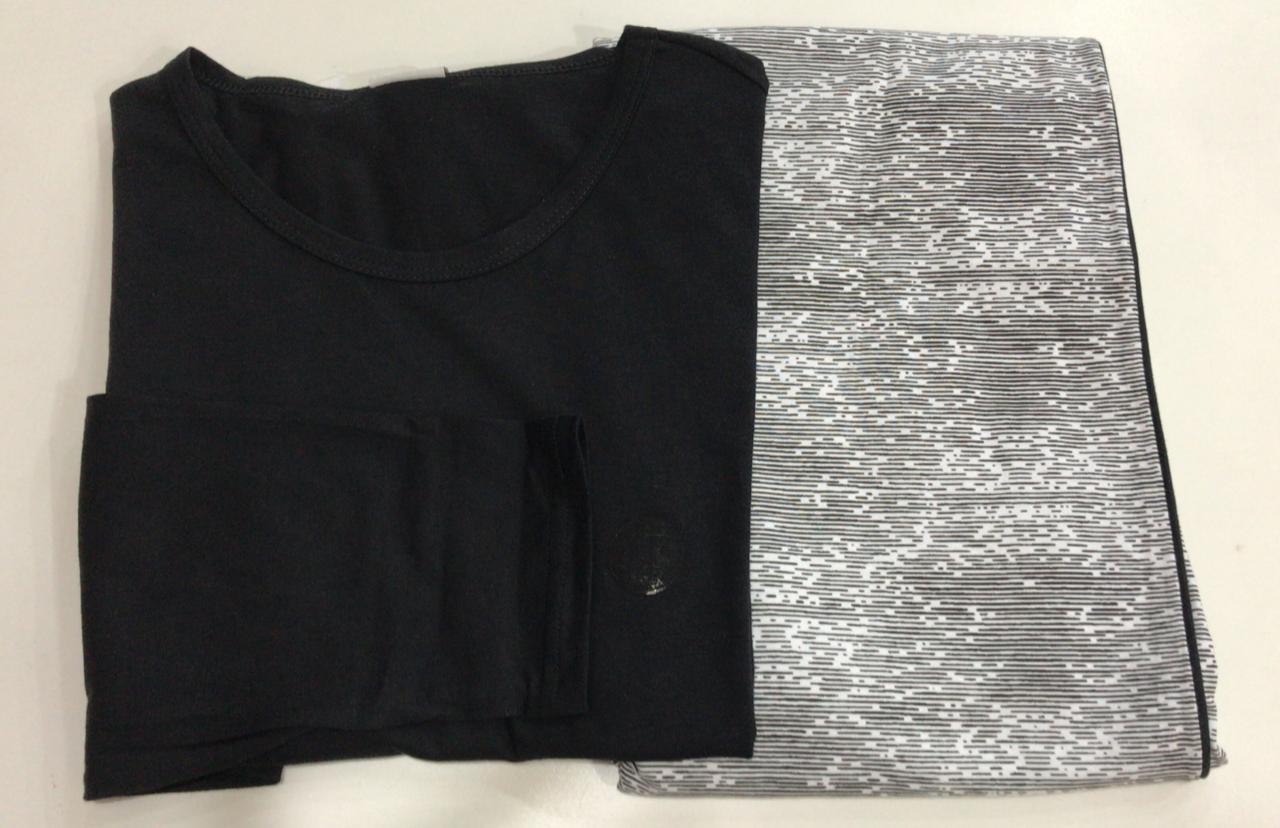 Pijama Masculino Adulto Lua Encantada Manga Longa com Calça em algodão branco com preto 445