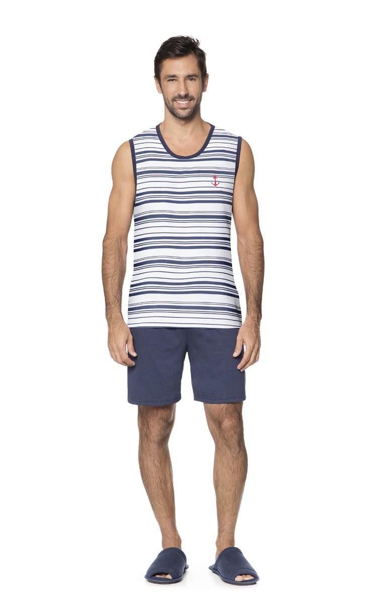 Pijama Masculino Adulto Lua Encantada Regata Náutico em Algodão 019423