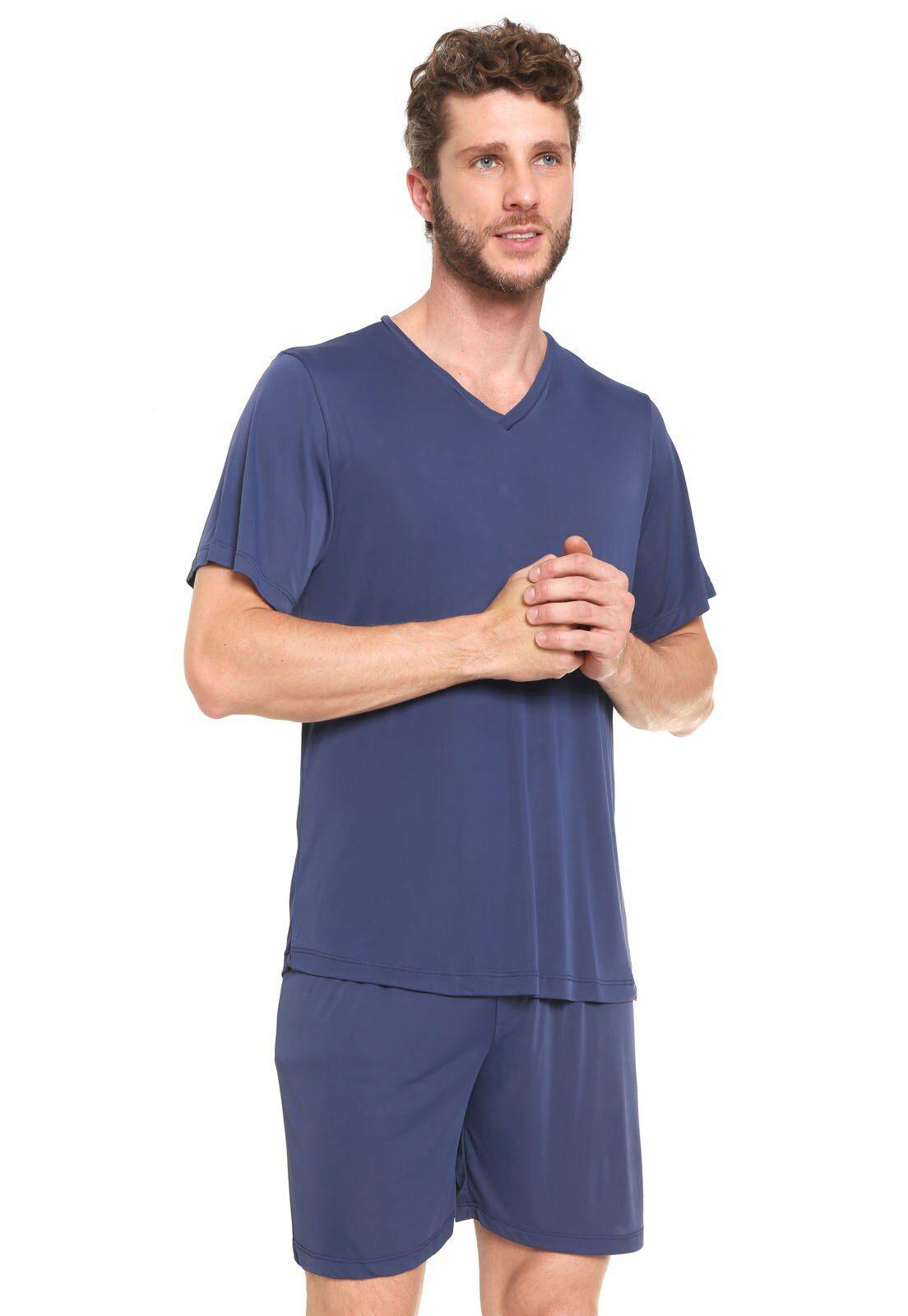 Pijama Masculino Adulto Lupo Blusa com Bermuda Azul em Poliamida 28096