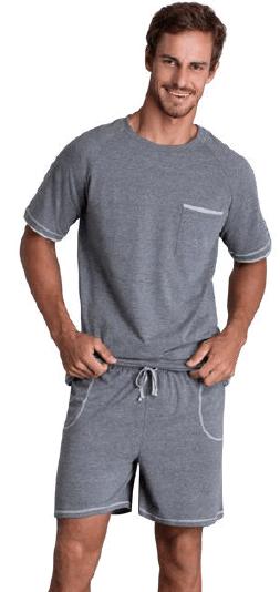 Pijama Masculino Adulto Lupo Blusa com Bermuda Cinza em Algodão 28115