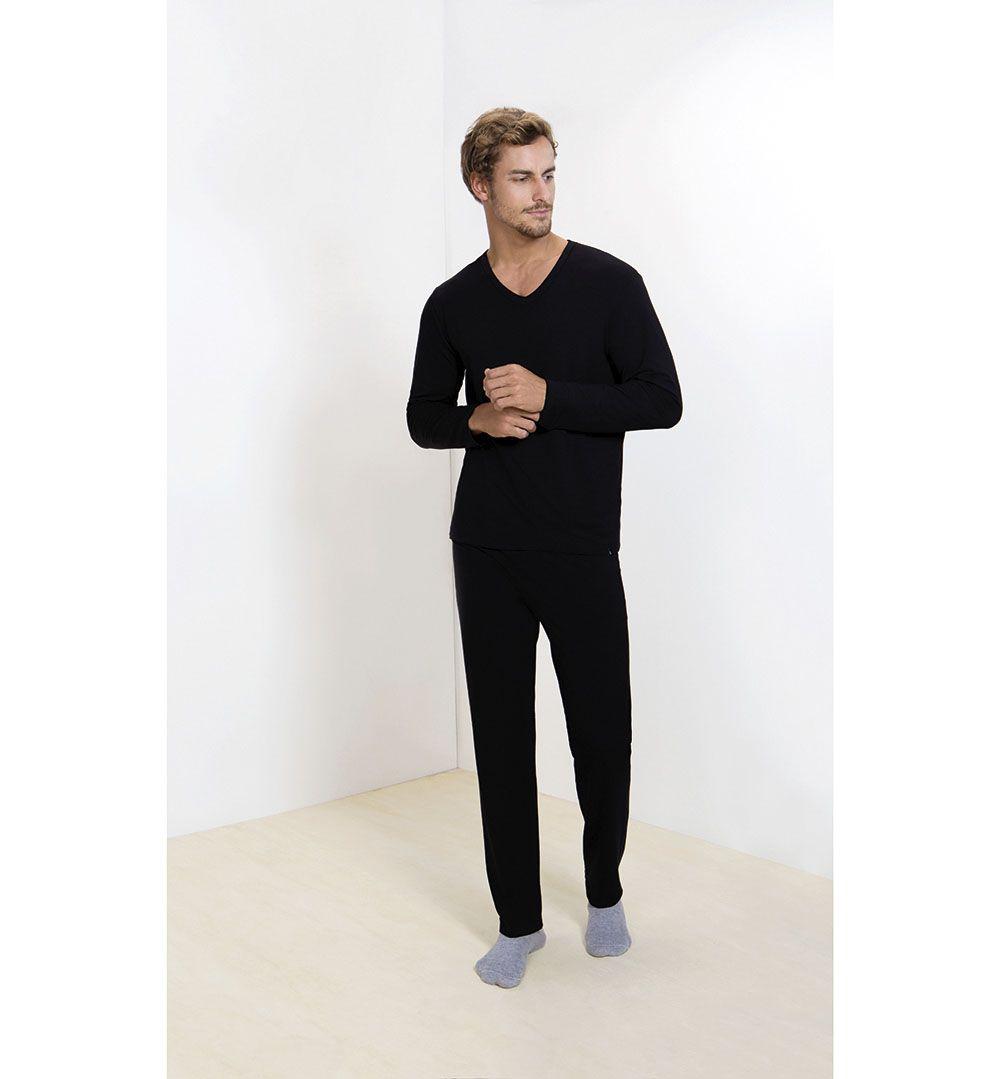 Pijama Masculino Adulto Lupo Longo em Viscolycra Preto