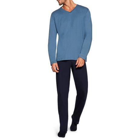 Pijama Masculino Adulto Lupo Manga Longa com Calça Azul em Algodão 28011