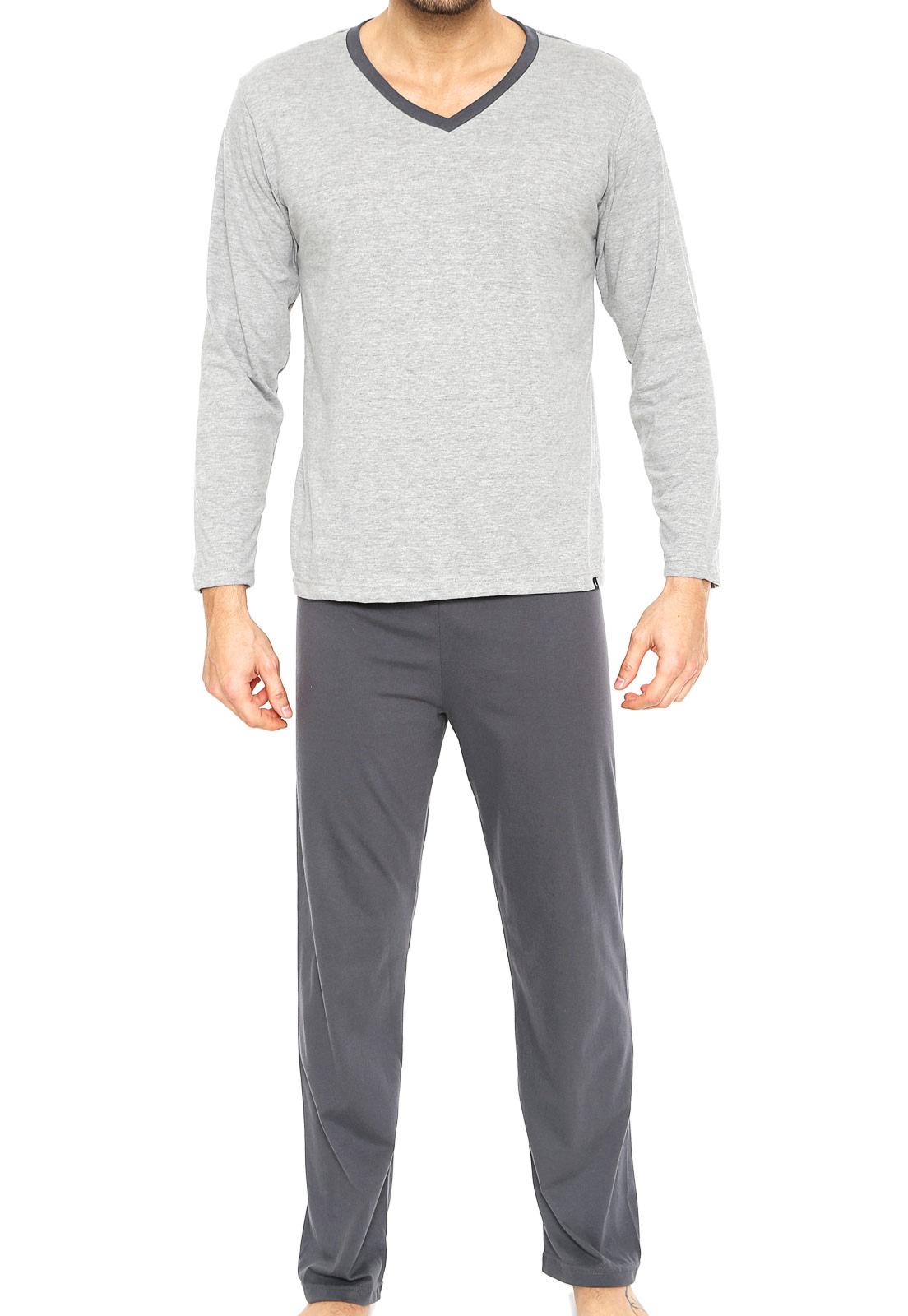Pijama Masculino Adulto Lupo Manga Longa com Calça Cinza em Algodão 28011