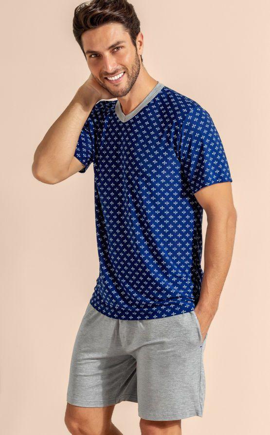 Pijama Masculino Adulto Mixte Blusa com Bermuda em Liganete com Modal 9561