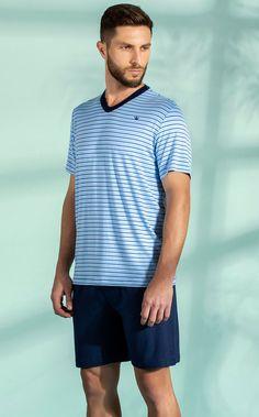 Pijama Masculino Adulto Mixte Blusa com Bermuda Listrado Azul em Modal 9279