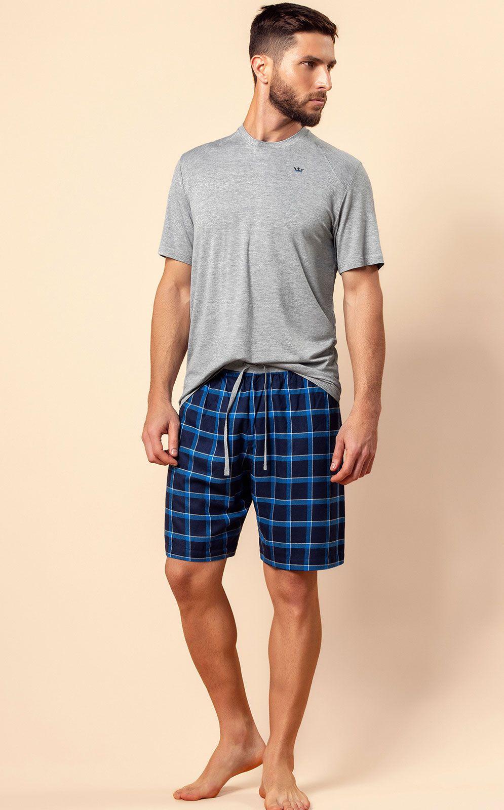 Pijama Masculino Adulto Mixte Blusa com bermuda Xadrez em Modal 9277