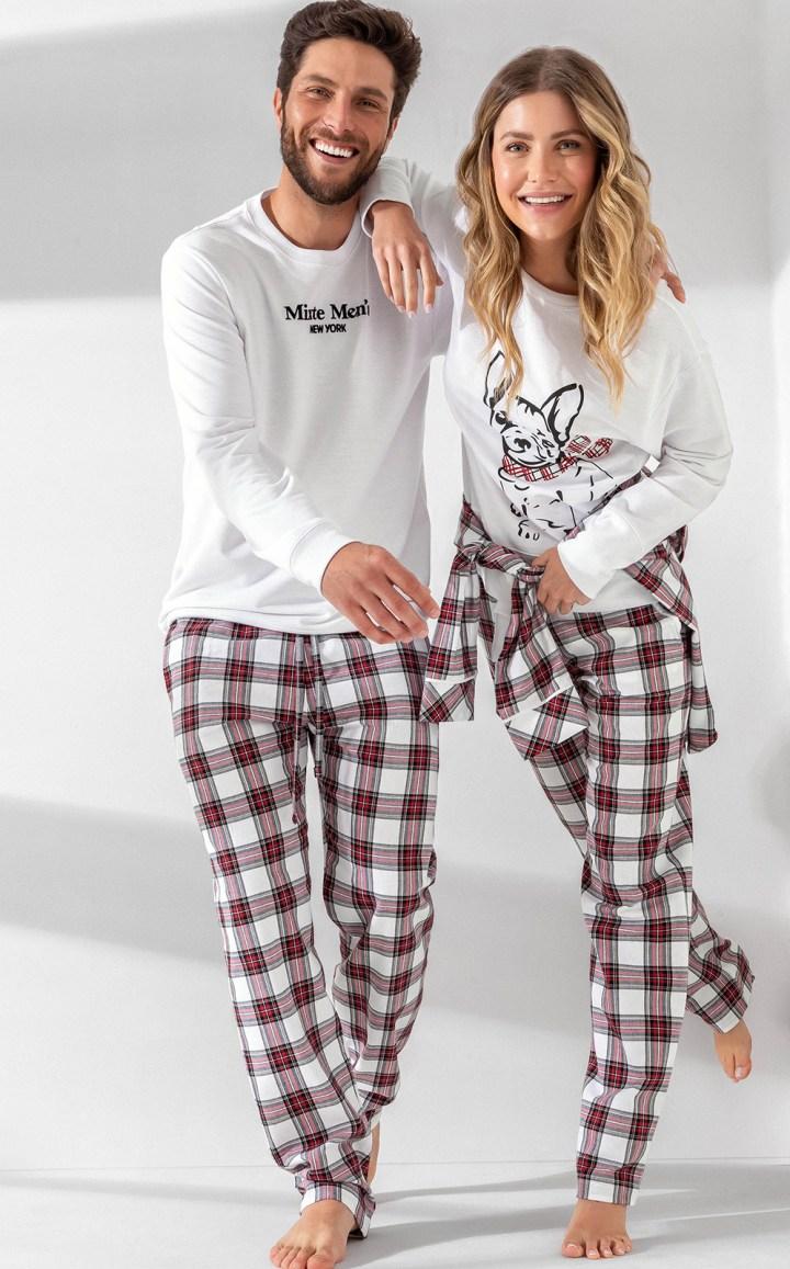 Pijama Masculino Adulto Mixte Blusa com Calça em Flanela Branco Premium 1014