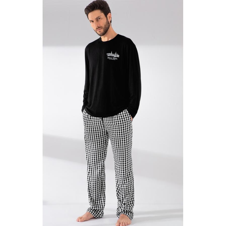 Pijama Masculino Adulto Mixte Blusa com Calça Xadrez Preto e Branco Modal com Viscose Premium 1024