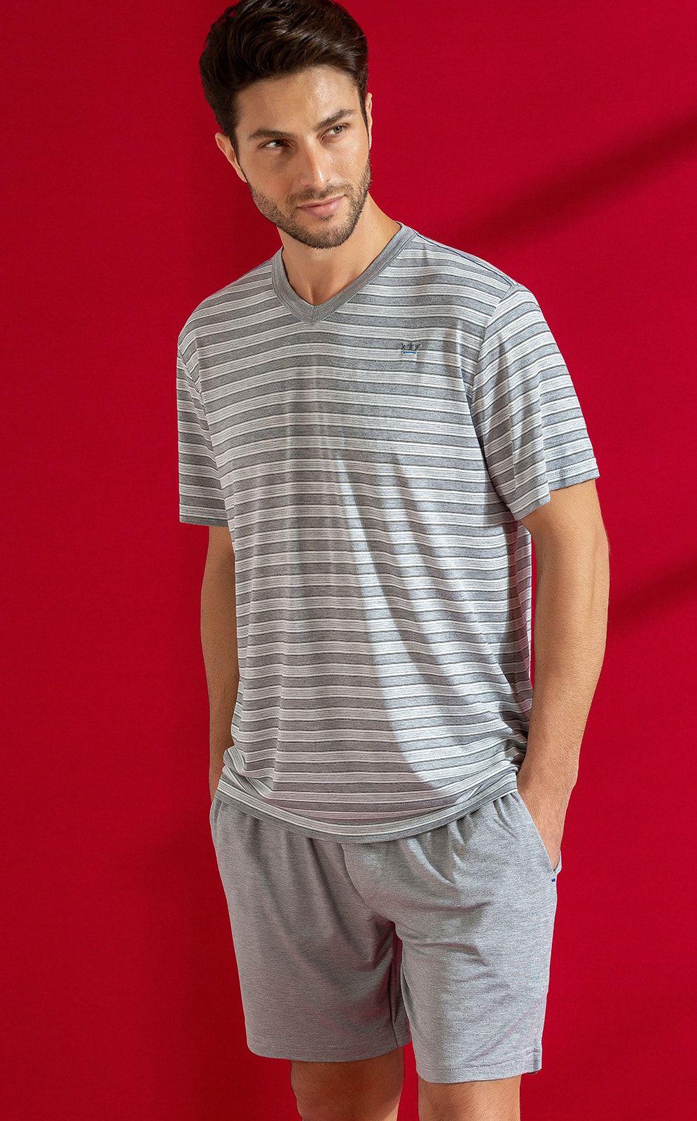 Pijama Masculino Adulto Mixte Camiseta com  Bermuda Listrado em Viscose com Modal 9554