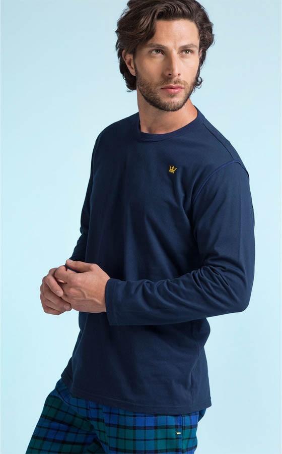 f2e45fc91 Pijama Masculino Adulto Mixte Longo Blusa Azul Marinho e Calça Xadrez de  Flanela