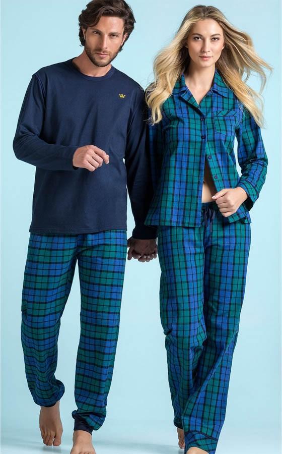 845c61e10 ... Pijama Masculino Adulto Mixte Longo Blusa Azul Marinho e Calça Xadrez  de Flanela ...