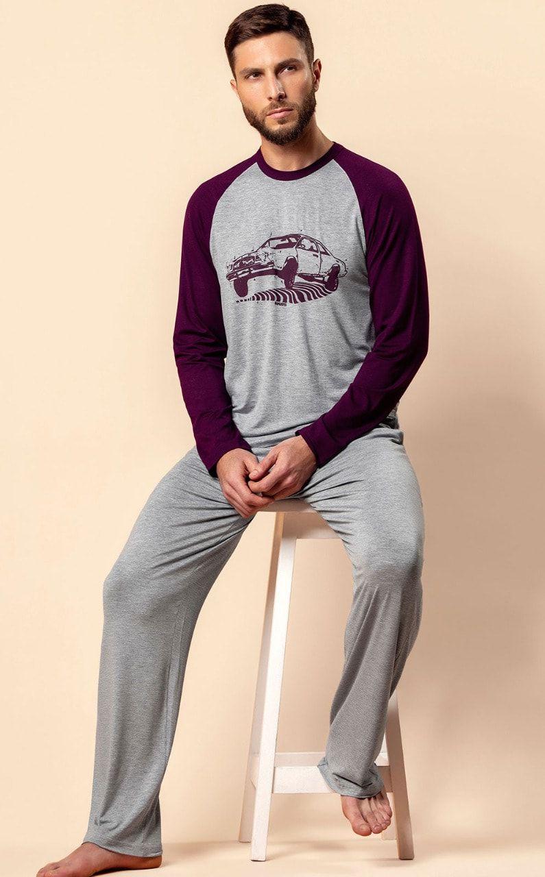Pijama Masculino Adulto Mixte Longo Carro Cinza Mescla em Modal 9286