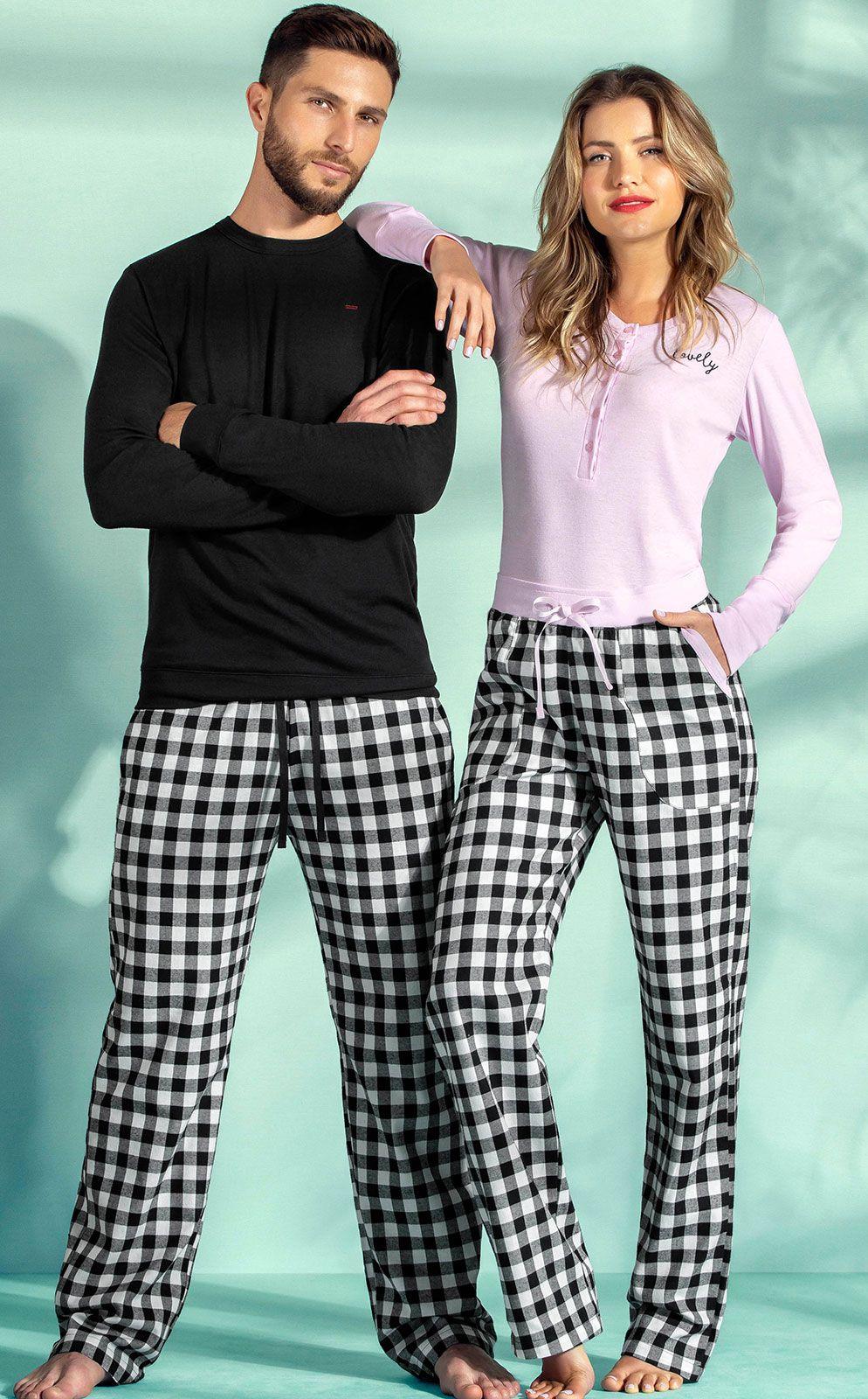 Pijama Masculino Adulto Mixte Longo em algodão com Flanela 9282