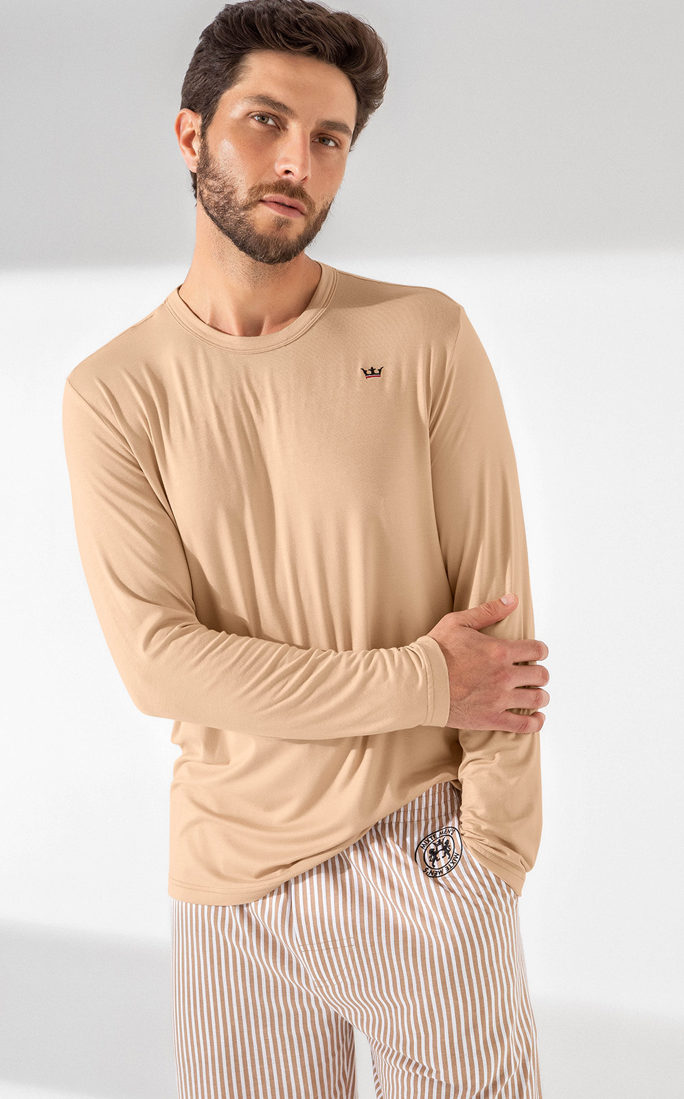 Pijama Masculino Adulto Mixte manga longa com Calça Listrado Camel 1021