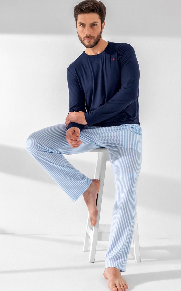 Pijama Masculino Adulto Mixte Manga Longa Marinho em Modal com Calça Listrada em Algodão Premium 1021