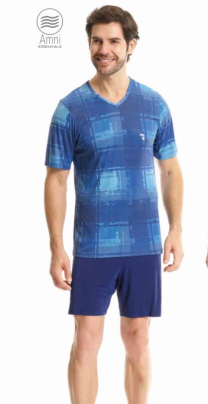 Pijama Masculino Adulto Paulienne Blusa Estampada com Bermuda em Liganete 09161