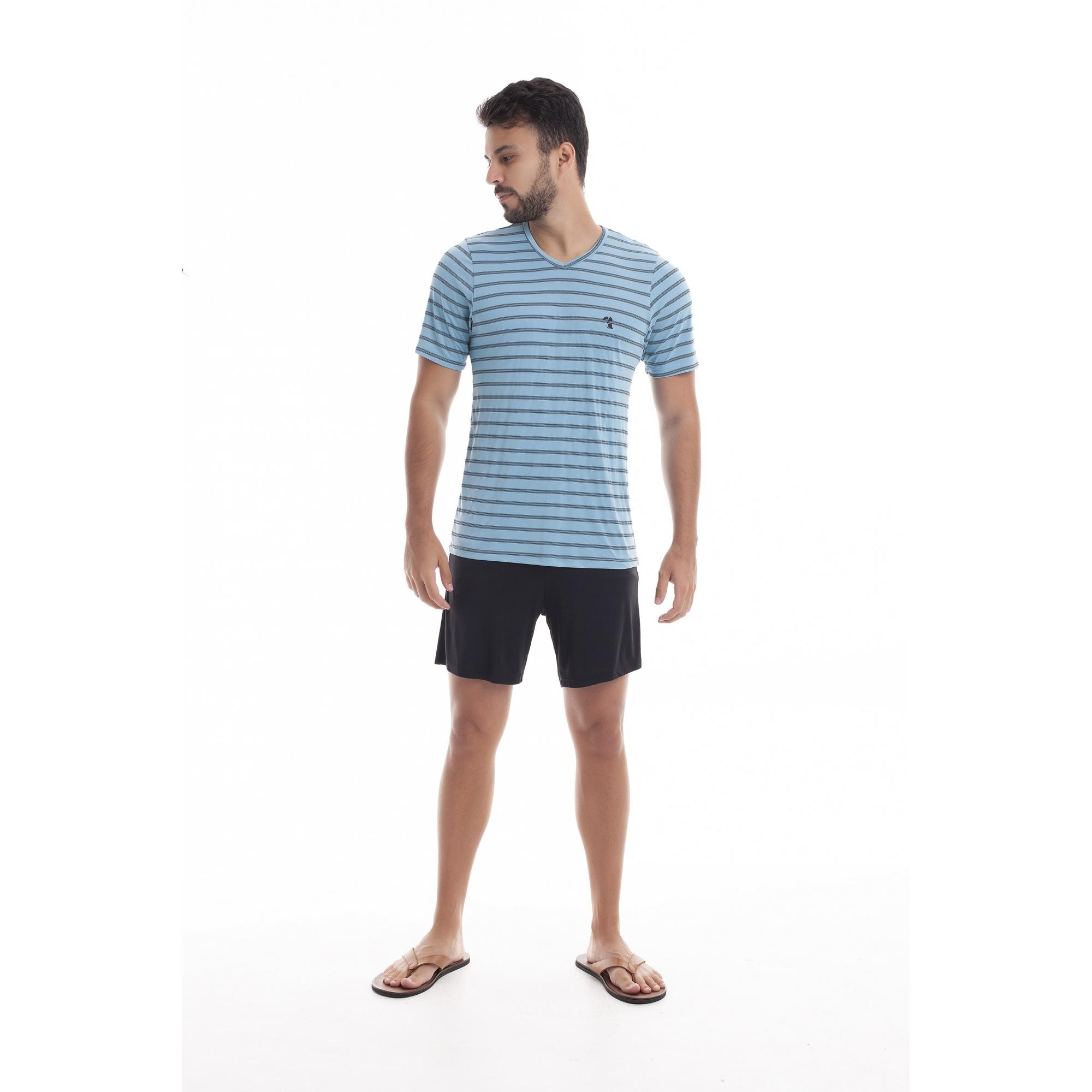 Pijama Masculino Adulto Paulienne Blusa listrada e Bermuda Preta em Liganete 09565 B47