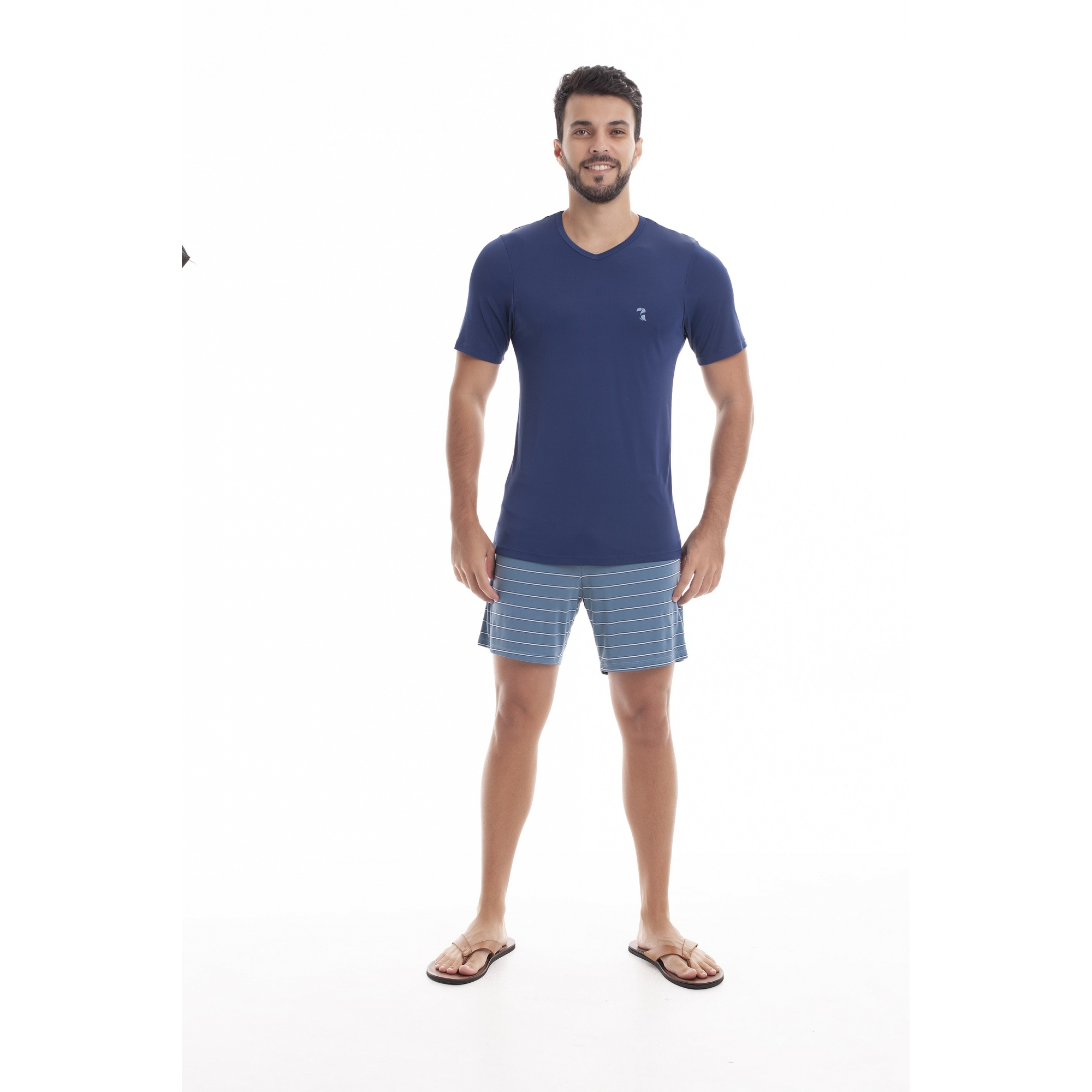 Pijama Masculino Adulto Paulienne Marinho com listras em Liganete 09665B46