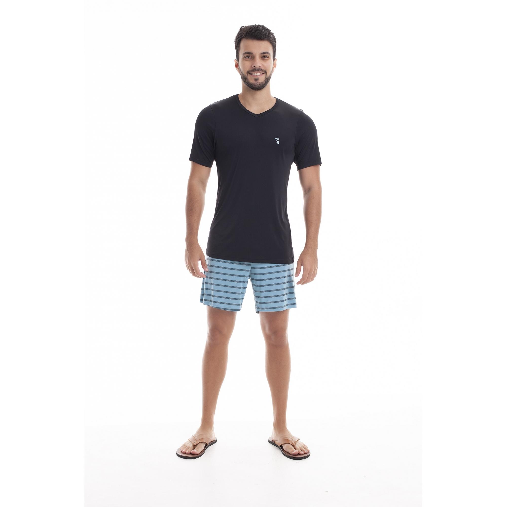 Pijama Masculino Adulto Paulienne Preto com listras em Liganete 09665B47